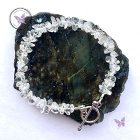 Clear Quartz Chip Healing Bracelet With Silver Toggle Clasp